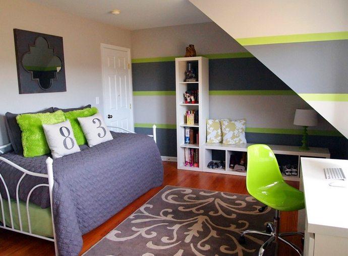 стены с элементами зеленого цвета в детской комнате для двух мальчиков