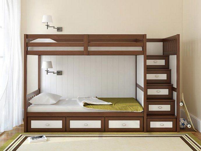 кровать в детской для двух мальчиков