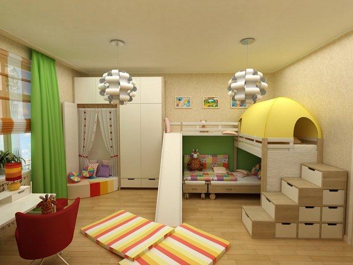 системы хранения в детской для двух мальчиков