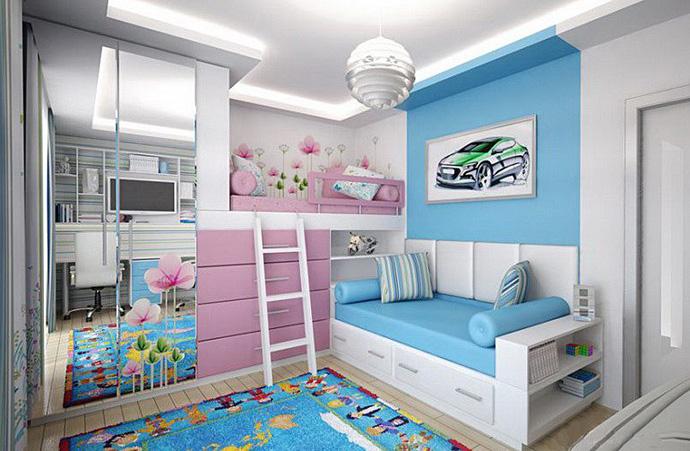 дизайн детской комнаты для двух разнополых детей